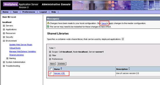 图 4:WebSphere Admin Console 中共享库列表